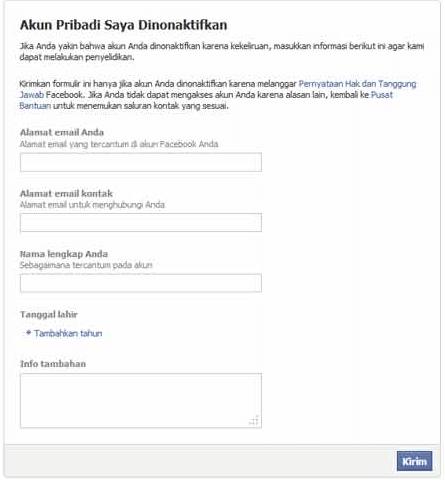 mengaktifkan akun facebook yang dinonaktifkan
