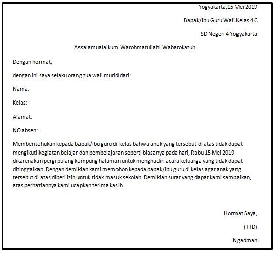 Contoh Surat Izin Tidak Masuk Sekolah Karena Pergi Untuk Sd