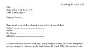 Surat Izin Sekolah Kepentingan Keluarga