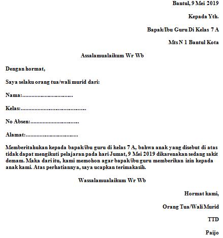 Contoh Surat Izin Sakit Sekolah Mts Fahmifebi