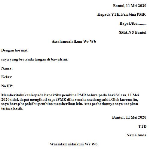Contoh Surat Izin Tidak Masuk Ekstrakulikuler Pmr Fahmifebi