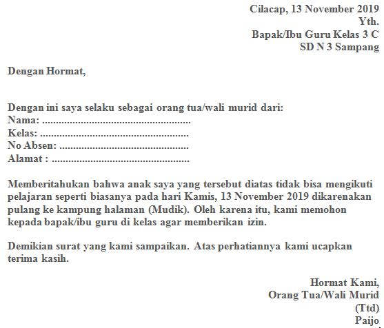 Contoh Surat Izin Tidak Masuk Sekolah Karena Mudik Fahmifebi