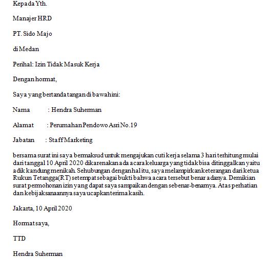 Contoh Surat Izin Tidak Masuk Kerja Dari Rtrw Fahmifebi