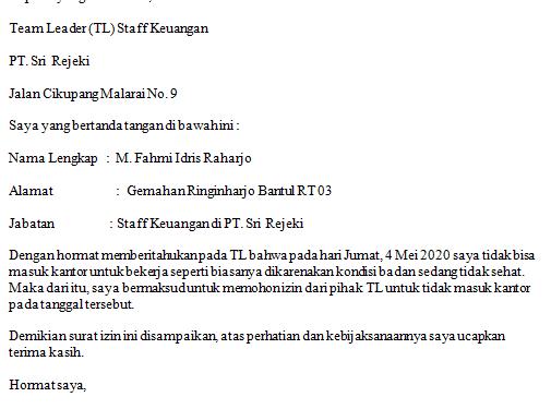 Contoh Surat Izin Tidak Masuk Kerja Untuk Karyawan Swasta