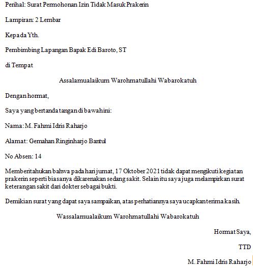 contoh surat izin tidak masuk prakerin